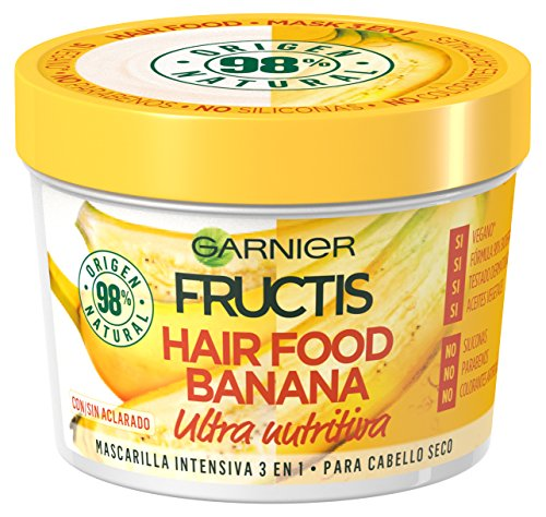 Garnier Fructis Hair Food Banana Mascarilla 3 en 1-3 Recipientes de 390 ml - Total: 1170 ml
