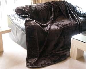 grand couvre lit plaid marron chocolat 200 x 240 cm pour lit king size cuisine maison. Black Bedroom Furniture Sets. Home Design Ideas