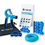 4GEAR Hand Grip Strengthener Workout Kit (5 Pack) - 22-88lbs Adjustable Forearm Hand Gripper, Finger Stretchers, Finger exerciser & Grip Ring + Exercise Manual + Carrying Bag + 3 Years Warranty