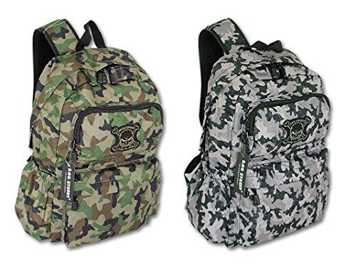 Military - Herren – Rucksack – jugendliche Tasche Kampf - Rucksack Army Camouflage Totenkopf (Camouflage grau)