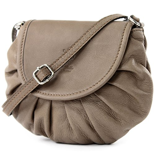 ModaModa–Italiana. Custodia in pelle borsa a tracolla borsa City Girl piccola borsa donna nappa pelle Mini T129 Blassbraun