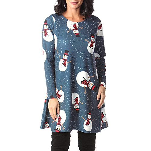 Auifor Weinlese-Weihnachten Sankt Printed Kostüm Damen A-Line Loses Swing-Kleid