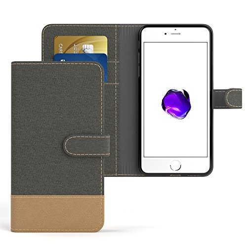 "iPhone 8 Hülle / iPhone 7 Wallet Case - EAZY CASE Bookstyle Cover ""VINTAGE"" Klapphülle für Apple iPhone 7 & iPhone 8 - Edle Schutzhülle als Geldbeutel mit Kartenfach in Anthrazit Schwarz Anthrazit - Denim"