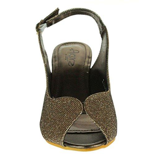 Casamento Tamanho Feminino Slingback Brilhantes Noite Sandálias Bridal Saltos Marrons Senhoras Peep Sapatos À Toe Cunha Festa Prom qqAwRgz