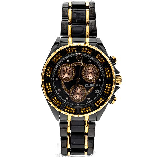 Cerruti 1881 Diamond Lady cronografo 36 mm con diamanti veri nero e oro rosa, bracciale in ceramica, Swiss Made