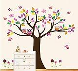 Wandtattoo Wandsticker Kinderzimmer Wandaufkleber Baum Tiere Eule Wald XXL