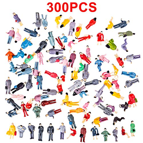 K9CK Modell Figuren, 300 Stück Stehende und Sitzende Figuren Modellbau Miniaturen für Modelleisenbahn Figuren, H0 1:87