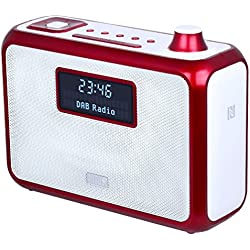 Radio FM / DAB+ Portable avec Haut-Parleur Stéréo Bluetooth NFC - August MB400 – Réveil Double Alarme – Enceinte Lecteur MP3 : Port USB / Lecteur Carte SD / Prise Auxiliaire 3,5mm – Rouge
