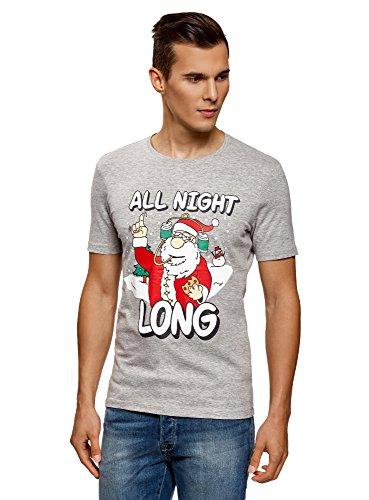 oodji Ultra Herren Baumwoll-T-Shirt mit Santa Druck Grau (2345P)