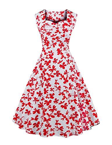 Libelle Vintage-kleidung (VKStar® 50er Jahre Damen Kleid Vintage Stoffdruck Petticoat Rockabilly Kleid Libelle M)