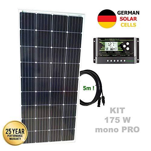 Kit 175W PRO 12V panel solar monocristalino células alemanasComposición del Kit Solar:Panel solar monocristalino 175W 12V células alemanas cable 5mRegulador solar de 20A 12V/24V con display y 2 USB LCD VIASOLAREspecificaciones técnicas:Panel solar m...