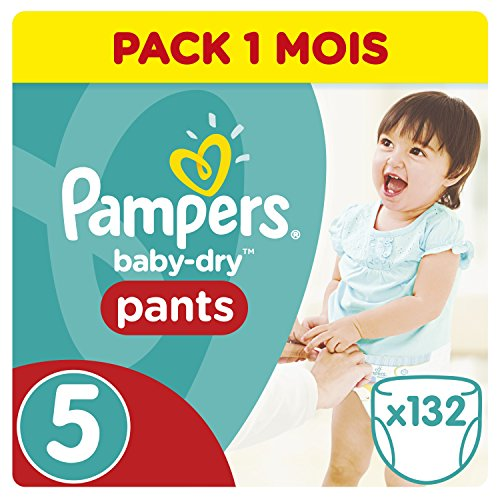 Pampers - Baby Dry Pants - Couches-culottes Taille 5 (12-18 kg) - Pack 1 mois (x132 culottes)