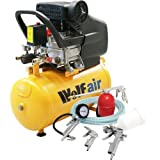 Wolf Air Sioux 24 Litre 2.5HP Induction Motor, 9.5CFM 116psi Air Compressor complete with 5pc Kit includes: 5m Air hose, Gravity feed spray gun, Tyre Inflator, Long nozzle sprayer/degreasing gun and Blow gun - READY TO GO!