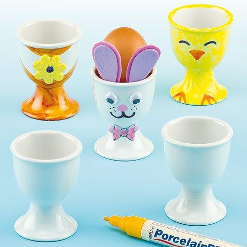 Preisvergleich Produktbild Eierbecher aus Porzellan zum Bemalen und Dekorieren für Kinder zum Basteln zu Ostern (4 Stück)