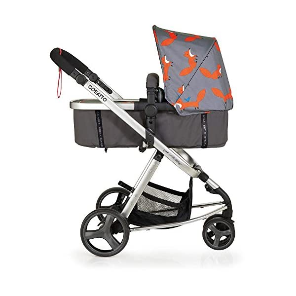 Cosatto Hold Mix Carseat Mister Fox Cosatto Includes - Pram & Pushchair, Hold Car seat, Adaptors, Apron and Raincover Suitable from birth up to 15kg, One unit transforms from newborn pram mode into pushchair mode. Space saving. No need to buy separates. 'In or out' facing pushchair seat lets them bond with you or enjoy the view. 2