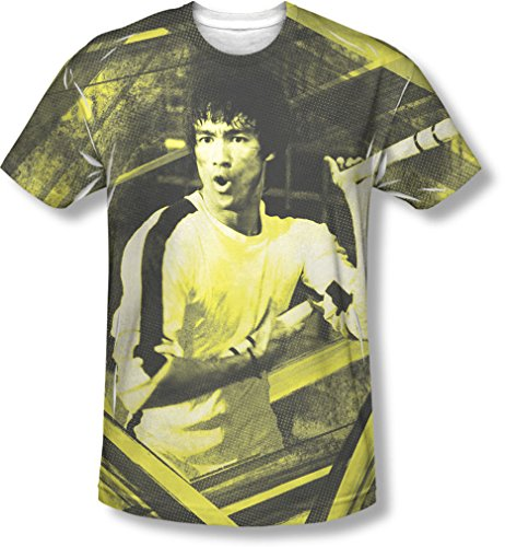 Bruce Lee - - Stripes T-shirt pour hommes, Large, White