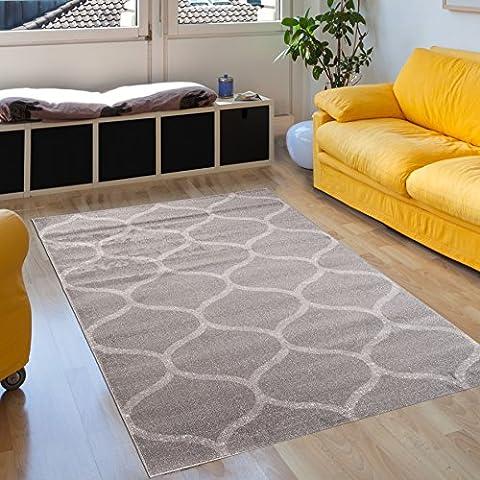 Teppich Wohnzimmer Grau 80 x 150 cm Designer Teppich KurzflorModern Muster Geometrisch Klee