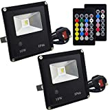 Jayool 10W RGB Floodlight, LED Colour Changing Flood Lights Outdoor with Remote, RGB