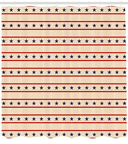 ntry Decor Duschvorhang Horizontal Grenzen Patriotische Sterne USA Pattern Fabric Bathroom Decor Set mit Hooks Cream Navy ()