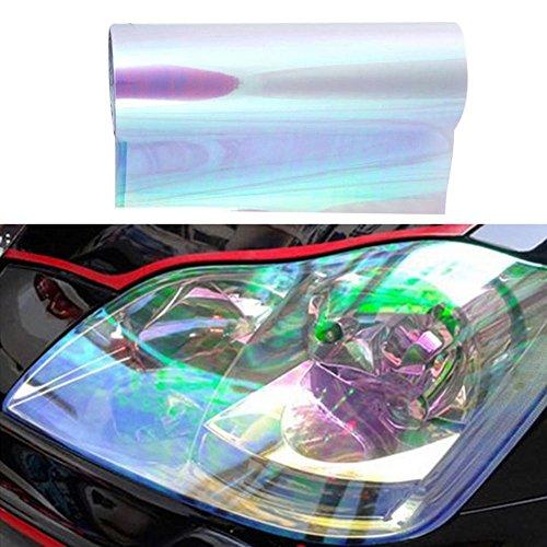 Yishijia Auto Scheinwerfer Aufkleber, Folie Tönungsfolie Aufkleber Selbstklebende glänzende Chamäleon Scheinwerfer Rücklicht Nebelscheinwerfer Filme (Weiß)