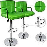 Kesser 2er Set Barhocker Barstuhl Tresenhocker Küchenhocker Loungesessel Esszimmerstuhl ✓ Höhenverstellbar ✓ 360° drehbar ✓ mit Lehne | Gepolsterte Sitzfläche | mit Fußablage | Farbe: Grün