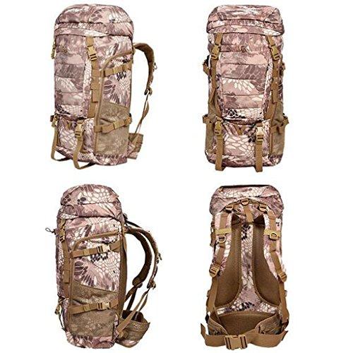 AMOS Bergsteigen Tasche mit Schulter Rucksack männlichen und weiblichen Reise Wandertasche 80L up Kapazität Tarnung Rucksack Jungle mang grain
