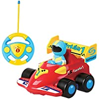 DeeXop RC Cartoon Race Car with Music Radio Control Toy for Toddlers Kids