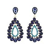 Gusspower 1 par Pendientes colgantes con forma de lágrima de diamante, pendientes colgantes, pendientes de gota, pendientes para mujeres, niñas, fiesta (Azul)