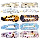 10 Stücke Eleganz Haarspangen Perle Haarspangen Mode Geometrische Acryl Harz Alligator Haarspangen Haarnadeln für Frauen Damen Braut Haarschmuck