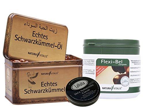 Glucosamin-chondroitin-creme (Natura Vitalis 730 Schwarzkümmel Öl Softgels + Flexi Bel Complete 400 Kapseln (neue Rezeptur) + LaVolta Shea Classic Naturcreme 8ml)