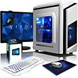 VIBOX Killstreak GS760-368 Paquet Gaming PC - 4,2GHz Intel i7 Quad Core CPU, GTX 1060 GPU, Extremo, Ordenador de sobremesa para oficina Gaming vale de juego, con monitor, Windows 10, Iluminaciàn interna azul (3,6GHz (4,2GHz Turbo) Super rápido Intel i7 7700 Quad 4-Core CPU procesador de Kabylake, Nvidia GeForce GTX 1060 3GB Tarjeta gráfica, 8 GB 2133MHz DDR4 RAM, 120GB unidad de estado sàlido SSD, Disco duro 2TB, 85+ PSU, F3 Blanco)