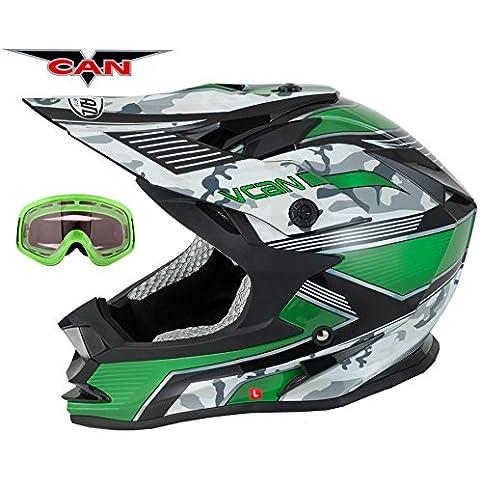 V-CAN V321fuerza nueva Moto Track Racing oro ACU ATV Quad Dirt casco verde y verde gafas