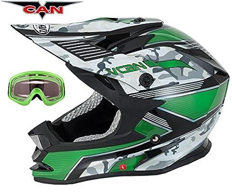 V-CAN V321Force New Track Racing Moto ATV Quad ACU or La saleté Casque Vert et Vert pour masque de ski