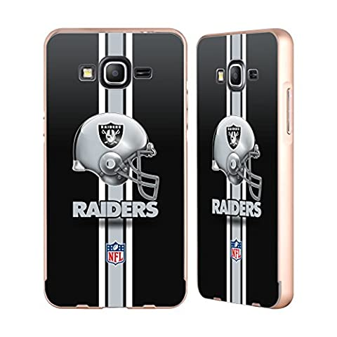 Officiel NFL Casque Oakland Raiders Logo Or Étui Coque Aluminium Bumper Slider pour Samsung Galaxy Grand Prime
