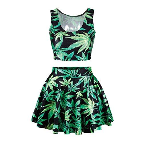 Jiayiqi Femmes Crop Réversible Impression Numérique Débardeur Patineuse Plissée Jupes Costume Feuille de marijuana