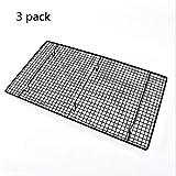 Wagyunfei Set Di 3 Vaschette Per Cottura In Forno Set Vaschetta Di Cottura In Alluminio Forno Di Metallo Non Tossico Rack Di Raffreddamento Di Sicurezza (Colore : 3 pack Black)