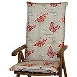 1 Auflage für Hochlehner Sun Garden Prato 40262-310 Schmetterling rot ohne Stuhl