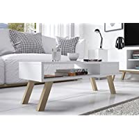 Vero Wood - Mesa de centro / Mesita baja / Mesa de café en estilo escandinavo (80 cm, Blanco Mate)