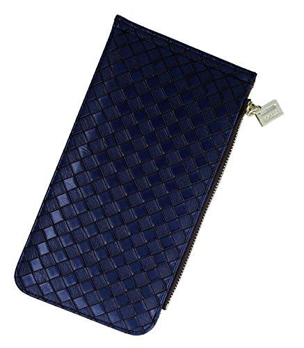 Unisex Geldbörse + Kreditkartenetui + Brieftasche / Extra-Reißverschluss Fächer /Hochwertigem PU-Leder/18 Fächer (vintage), ca. 19cm x 10.5cm x 1.5cm Schatz blau