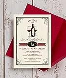 Personalisierte Vintage Wein Mottoparty Hochzeitstag Einladungen mit Umschlägen (10Stück)