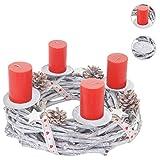 Mendler Adventskranz Rund, Weihnachtsdeko Tischkranz, Holz Ø 30cm weiß-Grau ~ mit Kerzen, Rot