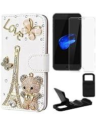 Semoss 3 in 1 Accesorios Set Lujo Bling Gliter Cristal Diamante Torre Eiffel Funda de Cuero Carcasa Para iPhone 7 Oso Carcasa PU Folio Flip Billetera Wallet Piel Cover con Titular Tarjeta y Protector de pantalla