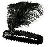 iyhouse Pailletten-Tänzerin Party Flapper Stirnband Kopfschmuck mit Feder plume, Schwarz