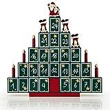 Deuba Adventskalender Tannenbaum DIY | Weihnachten Kinder Geschenk Kalender 2018 Zum Selber Befüllen | Holz Türchen Deko