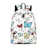 Fieans Fashion Rucksack Jugendliche Mädchen Freitzeit Schultaschen mit Laptopfach Bedruckter Kinderrucksack für Reise Arbeit Schule-Schmetterling