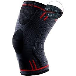 Kuangmi Knie-Stulpe/Knie-Stütze/Bandage, rutschfest, schmerzlindernd und unterstützt die Heilung für Sportler mit Arthritis oder Kniescheibengelenk-Verletzung, 1 Stück XXL Advanced Blue