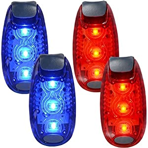 WINOMO 2 Pair Safety LED Light for Runners Bikes Boats High Visibility Clip Light for Running Walking Jogging (Blue+Red) 10