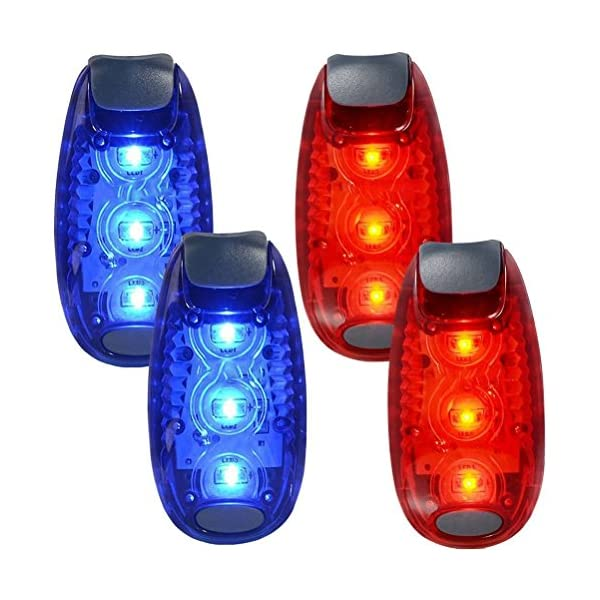 WINOMO 2 Pair Safety LED Light for Runners Bikes Boats High Visibility Clip Light for Running Walking Jogging (Blue+Red) 1