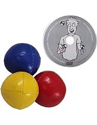 """Juggle Dream - Pack de 3 x bolas de malabares profesionales y DVD """"Aprender malabarismo"""", color rojo/amarillo/azul (AMPAC-015/RYB)"""