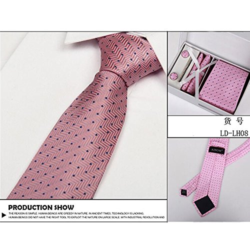 Meijunter New Luxury Silk La cravate des hommes Jacquard Woven Tie Cufflinks Mouchoir 4pcs Set LH08